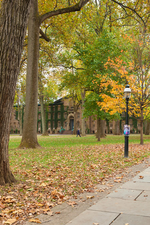 PRINCETON, NEW JERSEY - November 1, 2017: The exterior of Nassau Hall is seen on a fall day
