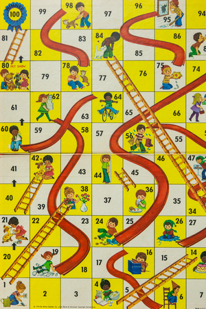 WOODBRIDGE, NEW JERSEY - October 13, 2018: A circa 1980s board game of Chutes and Ladders is shown.
