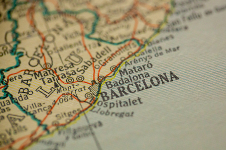 Barcelona, Spain is the center of focus on an old map. 版權商用圖片