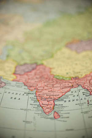 India is seen on a vintage map.