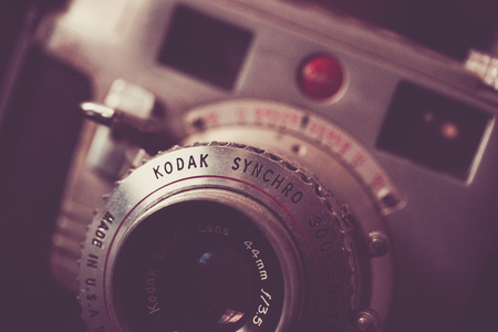 WOODBRIDGE, NEW JERSEY - October 11, 2018: A dusty, vintage Kodak Synchro 300 is seen. Image is done in a retro colortone.