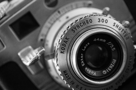 WOODBRIDGE, NEW JERSEY - October 11, 2018: A dusty, vintage Kodak Synchro 300 is seen. Image is done in black and white. Editorial