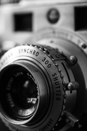 WOODBRIDGE, NEW JERSEY - October 11, 2018: A dusty, vintage Kodak Synchro 300 is seen. Image is done in black and white. Sajtókép