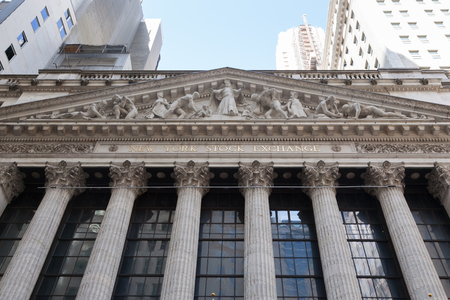 NEW YORK, NEW YORK - April 5, 2018: Detils of the famous New York Stock Exchange building are seen