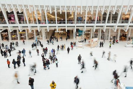 NEW YORK, NEW YORK - April 5, 2018: People enjoy the inside of Lower Manhattans Oculus Sajtókép