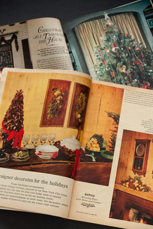WOODBRIDGE, NEW JERSEY - October 11, 2018: Vintage 1964 Woman's Day magazines are shown featuring Christmas articles