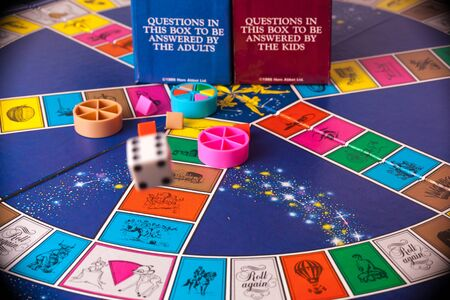 WOODBRIDGE, NEW JERSEY / USA - January 29, 2020: A 1980s Disney version of the classic board game, Trivial Pursuit, is pictured in this illustrative editorial image.