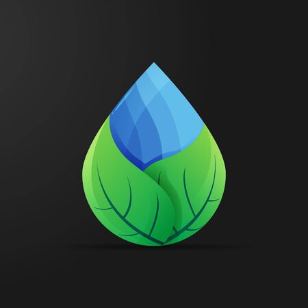 perfect leaf logo combination with water