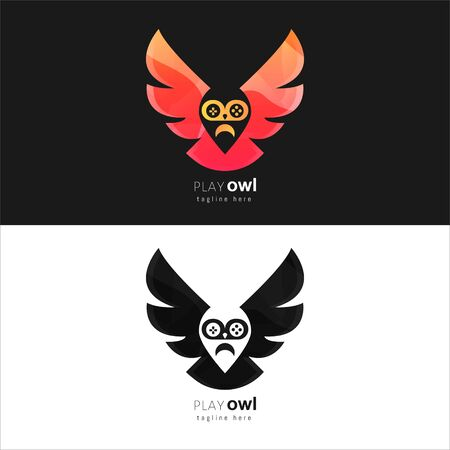 awesome colorful owl gamer logo template