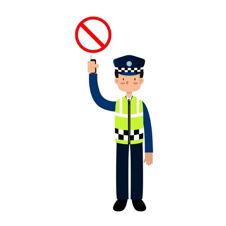 ILLUSTRATION VECTOR POLICE ARE REGULATING TRAFFIC WITH STOP BOARD