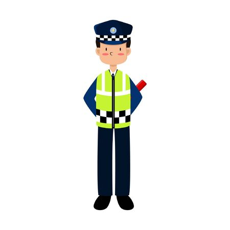 ILLUSTRATION VECTOR POLICE ARE REGULATING TRAFFIC WITH HOLDING STICK LIGHTS BEHIND THE AGENCY Illustration