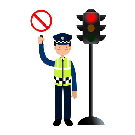 ILLUSTRATION VECTOR POLICE ARE REGULATING TRAFFIC WITH STOP BOARD AND RED LIGHTS Illusztráció