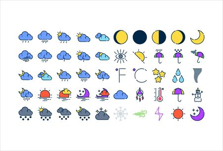 icon set weather with filled outline style