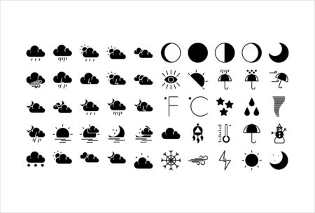 icon set weather with solid glyph style