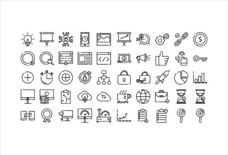 icon set web business with outline style
