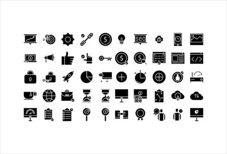 icon set web business with solid glyph style