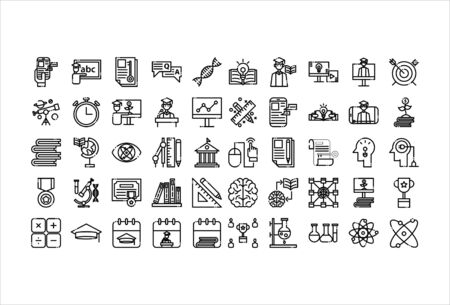 icon set online education outline style 向量圖像