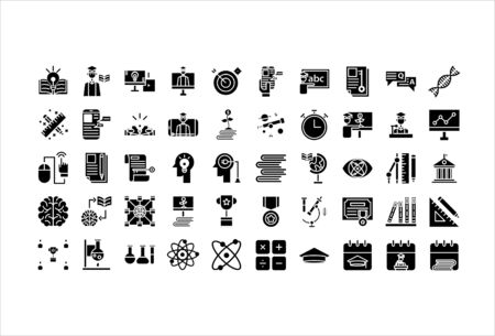 icon set online education solid glyph 向量圖像