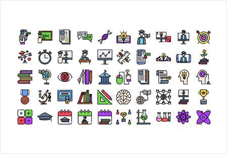icon set online education filled outline