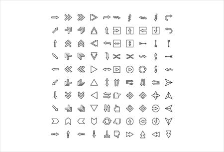 100 icon set arrow with outline style  イラスト・ベクター素材