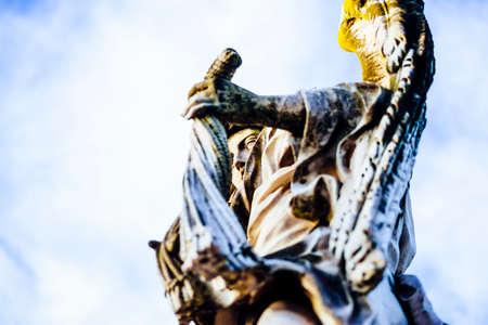 Italy, Rome, Castel SantAngelo, statue of Angelo with flagella, sculptor Lazzaro Morelli, inscription In flagella paratus sum
