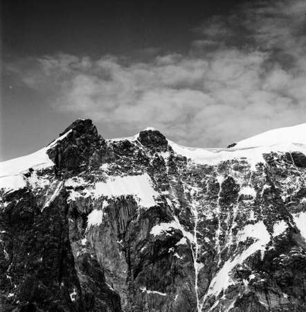 Monte Rosa mountain group, East wall Punta giordani and Vincent pyramid, vintage photograph in black and white