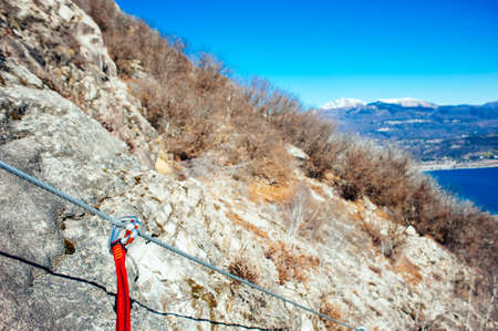 artificial climbing mountain route traced to the mountains of Lake Maggiore, Ferrata called the