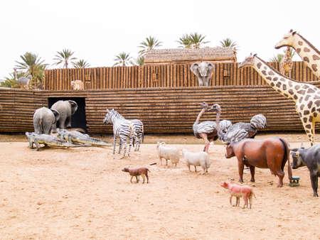 the animals climb on Noahs Ark, prehistoric park in Tunisia, Tozeour Stock Photo