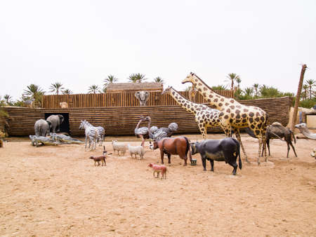 the animals climb on Noah's Ark, prehistoric park in Tunisia, Tozeour