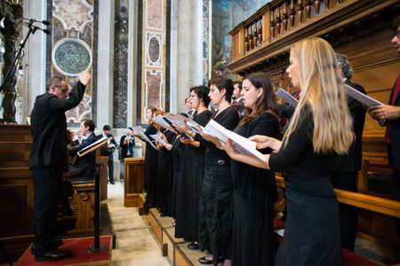 Rome-Italy-7 September 2017-Pilgrimage for the tenth anniversary of the Summorum Pontificum, singers of Gregorian sacred music during the various celebrations.
