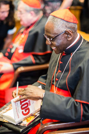 Rome-Italy-7 September 2017-Pilgrimage for the tenth anniversary of the Summorum Pontificum, Cardinal Robert Sarah, in the hall of the Pontifical University