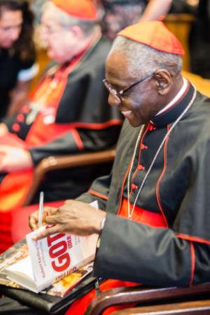 "Rome-Italy-7 September 2017-Pilgrimage for the tenth anniversary of the Summorum Pontificum, Cardinal Robert Sarah, in the hall of the Pontifical University ""Saint Thomas Aquinas"" Amgelicum"
