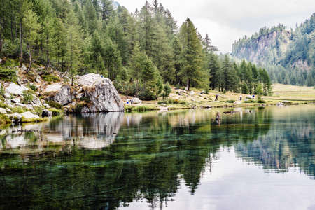 alpine lake, the forest is reflected in crystal clear water, cloudy day, lake of witches, alp devero, Italy
