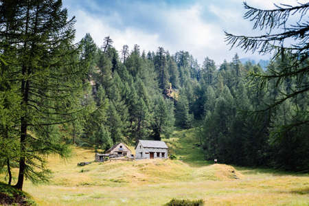 mountain house with flowers on the windows in the nature,Alpe Devero,Italy