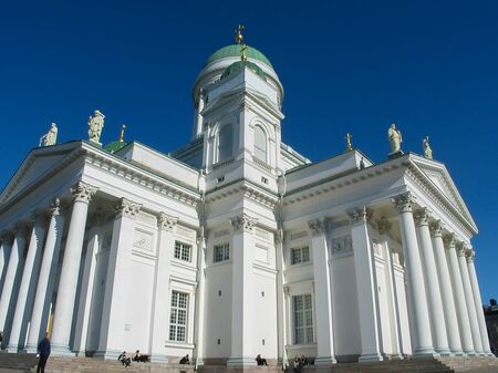 Helsinki, Finland / March 14, 2003: Helsinki Cathedral is the main church of the Helsinki diocese of the Evangelical Lutheran Church of Finland and dominates the city skyline. Banco de Imagens