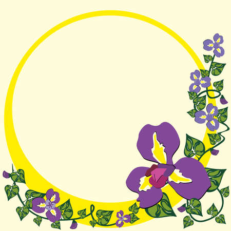 Frame With Sweet Pea In Yellow Circle Royalty Free Cliparts, Vectors ...