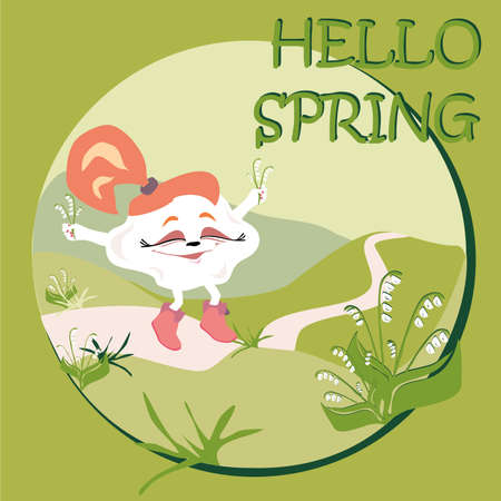 Hello spring card wilk happy cloud on a walk