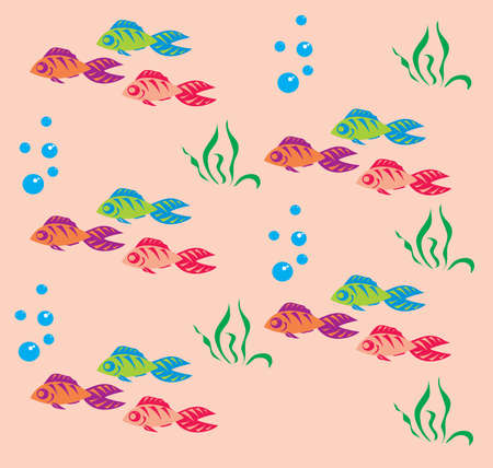 Background with coloured fish and bubbles