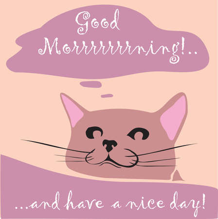 Good morning card with smiling cat in pink Ilustracja