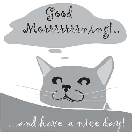 Good morning card with smiling cat in gray