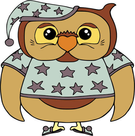 Funny owl in pajamas with stars