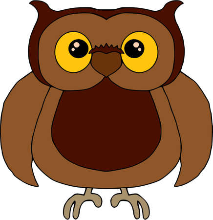 Funny surprised owl illustration on white background
