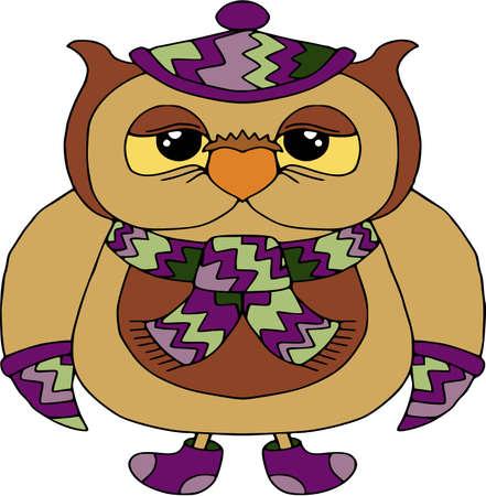 Grappige uil in violet sjaal en pet, stripfiguren. Grappige vogels, wilde natuur. Illustratie, geïsoleerd op wit