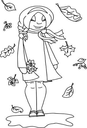 Autumn mood: happy. People isolated, coloring outline, outdoors, flat style, white background