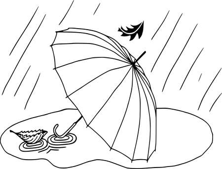 Autumn mood, umbrella in puddle of water. White background, flat style, coloring outline Çizim
