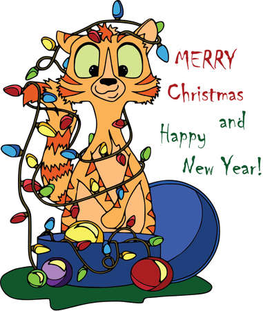 Christmas card with cat, garland and toys. Cartoon characters, flat style, white background