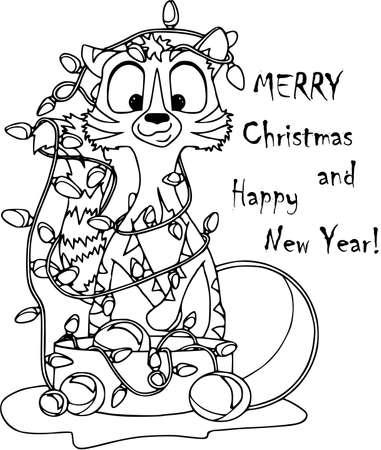 Tarjeta de navidad con gato, guirnalda y juguetes. Personajes de dibujos animados, estilo plano, fondo blanco, esquema para colorear.