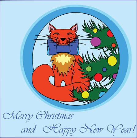 Cartoon characters, christmas card, blue background. Flat style, text Illustration