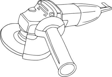 Handheld, serra circular do poder, rebarbadora - eletro-ferramentas isoladas no branco, construção e reparo, agregado familiar. Ícones para web, estilo simples, contorno de cor