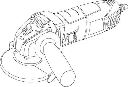 Dispositivo de mano, sierra circular de potencia, ilustración de la amoladora angular.